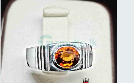 Hessonite garnet Gem Silver Ring