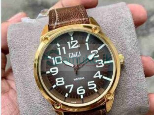 Q&Q Brown Leather Watch